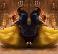 Wholesale Cosplay For Plus Size Women - High Quality 2017 Movie Emma Watson's Beauty And The Beast Belle Princess Yellow Cosplay Prom Dress For Adults Women Custom Made Quinceanera