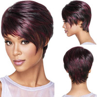 Wholesale Girls Bob Wigs - 30cm Fashion Sexy Fluffy Bob Ladies Synthetic Wig Women Tilted Frisette Short Hair Cosplay Wigs Wine Red