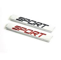 Wholesale Chrome Body Side - Sport Chrome Emblem Car Badge Sticker Racing FRONT DOOR SIDE 3D LOGO tail sticker car styling silver red black