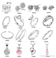 Wholesale Crystals For Sale Wholesale China - Silver Jewelry Sets Hot Sale Crystal Bracelets Earrings Necklaces Rings for Women Girl Gift Wholesale Free Shipping 0002ERBN