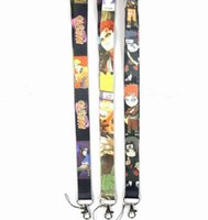 Wholesale Key Chain Naruto - 50pcs Anime Cartoon Naruto Designed LANYARD For Key Card ID Chain Neck Straps Party Gifts