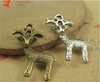 Wholesale Ancient Gold Beads - 29*17MM Antique Bronze Retro sika deer pendant charm beads mobile phone accessories, animal charm nickle free, ancient jewellery