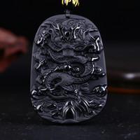 obsidien muska kolye toptan satış-Drop Shipping Benzersiz Doğal Siyah Obsidian Oyma Ejderha Şanslı Muska Kolye Kolye Kadın Erkek kolye Için Moda Takı