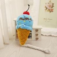mavi köpek oyuncakları toptan satış-Pet Oyuncaklar Nefis Dondurma Yüksek Kaliteli Yapmak Için bir ses Peluş Squeak Oyuncak Köpek Kedi Pembe Mavi 4gg F R