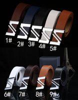 Wholesale Motherboards Wholesaler - hot sale Men's smooth buckle belt Word motherboard buckle pu trouser belt 9colors woman fashion Leather belt drop shipping