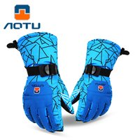 AOTU Men Women Ski Gloves Snowmobile Motocicleta Outdoor Ciclismo Alpinismo Skid Thick Waterproof Warm Gloves 097