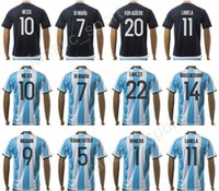 Wholesale Argentina Football Shirt Soccer - 2017 Argentina Jerseys Soccer Uniforms 17 18 Home White 10 MESSI Argentine Football Shirt 7 DI MARIA 11 AGUERO 20 KUN AGUERO 22 LAVEZZI