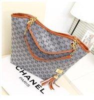 Wholesale American Splits - women handbag shoulder bag chains canvas designer tassel brand women messenger bag black fashion women tote Free Shipping