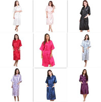 Wholesale Wholesale Wedding Gowns Sleeves - 10pcs 9 colors Fashion Women's Solid Silk Kimono Robe for Bridesmaids Wedding Party Night Gown Pajamas M011