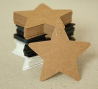 Wholesale Wholesale Christmas Star Ornaments - New 100Pcs Star Kraft Paper Label Wedding Christmas Halloween Party Favor Price Gift Card Luggage Tags White Black Brown 3Colors