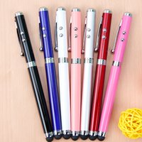 lápiz táctil táctil stylus al por mayor-Stylus Capacitive Touch Ballpoint Pen LED láser Linterna linterna Suministros escolares para oficina en stock cy
