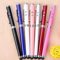 led kalemi toptan satış-Stylus Kapasitif Dokunmatik Tükenmez Kalem LED lazer Feneri kalem stokta Ofis Okul Malzemeleri cy
