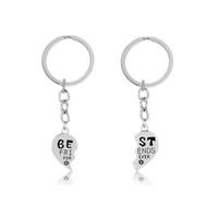 Wholesale Handmade Keyring - 2PC Broken Heart Puzzle Jigsaw Keychain Friendship Best Friends Forever BFF Key Chain Keepsake Gift Jewelry Diy Handmade KeyrinG