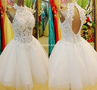 Wholesale Daffodil Bubble Dress - Short Homecoming Dresses High Neck A Line Bubble Appliques Sequin Mini Backless Junior 8th Grade College Party Dress Gowns for Cocktail 2017