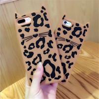 Wholesale Rubber Leopard Iphone Case - 3D Smile Leopard Cat Ear Beard Soft Silicone Phone Case for iPhone 6 6S Plus 8 7 7Plus Rubber Cover for iPhone X
