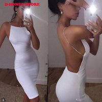 Wholesale White Dress Chain Backless - 2017 New Sexy dress 2 color solid black white summer dresses slash neck sequin chain knee length bodycon backless dress
