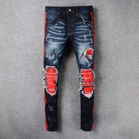 Wholesale Urban Motorcycles - Ripped Knee Men Jeans Fashion Hip Hop Urban Men Motorcycle Distressing Biker Slim Skinny Jeans Black Mix Red Side Stripe Slim Robin Jeans