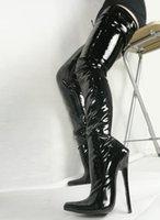 sapatos pontudos online venda por atacado-2017 Clássico 18 cm de Salto Alto Dedo Apontado Coxa Alta Mulheres Botas Sapatos Senhoras Festa À Noite Calçado Partido Sapatos de Desconto Online Plus Size
