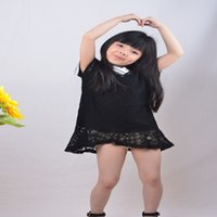 Wholesale Thin Girls Short Skirts - Girl Dress New Big Child Princess Skirt Heavy Industry Embroidery Lace Small Skirt Small Black Dress Thin Summer
