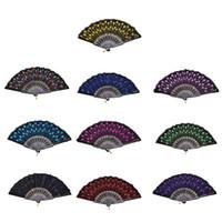 Wholesale Wholesale Fabric Hand Fans - Home Decoration Crafts Vintage Retro Peacock Folding Fan Hand Plastic Lace Dance Fans Hot Sale