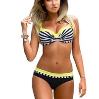 Wholesale women swimsuits large - Large Size Striped Patchwork 2017 Women Push up Swimsuits Bikini set Sexy Retro Swimwear Female Bandage Biquini Bather Beachwear