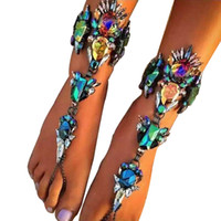 Moda Beach Foot Jewelry Hot Multicolor Crystal Rhinestone Tornozeleiras Pulseiras Beach Vacation Sandals Sexy Leg Chain Feminino Boho Anklets