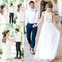 Wholesale Dresses Bohemia Style Chiffon - Sexy New Bohemia Style Long White Chiffon Lace Beach Wedding Dresses Boho 2017 Backless Wedding Gowns robe de mariage BA3987