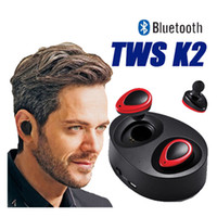 Wholesale Earphones Headphones For Iphone - TWS K2 CSR 4.1 Bluetooth Earphones For Samsung Note 8 S8 iphone 8 Mini Twins True Wireless in-ear Headphone With USB Charger Box
