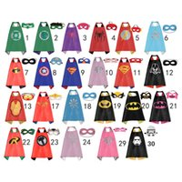 Wholesale Satin Capes Wholesale - Gold Hands Kids Superhero Cape and Masks L70 * W70 cm Double sides Satin Capes and Felt masks Great for Kids Cosplay Costumes and Gifts