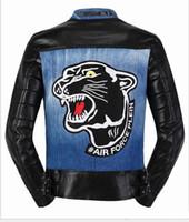 Wholesale Coat Skull Fashion - 2016 men skull fashion brand luxury PU leather coat tiger black jacket