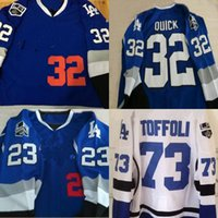 Wholesale blue draws - 32 Jonathan Quick Los Angeles King Blue Limited Hockey Jersey 77 Jeff Carter 8 Drew Doughty Any Name and Any Number Free Shipping