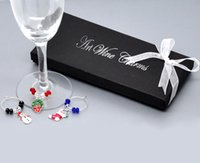 Wholesale Pendants Enamel Boxes - Wholesale-1 Box Mixed Christmas Wine Glass Charms Sets Xmas Pendants Enamel Decoration Ornament For Home 50x25mm-57x25mm With Gift Boxes