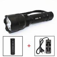 batteries c8 t6 achat en gros de-KC Fire LED lampe de poche C8 XML T6 LED 5 Mode Lumière 1000LM Aluminium LED Torch 18650 Batterie EU Chargeur