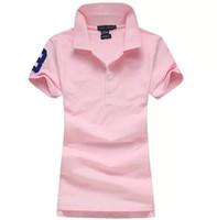 Wholesale Lapel Shirt Classic Women - Women's Polo Shirt Style Summer Fashion Women big Horse Embroidery Lapel Polo Shirts Cotton Slim Fit Polos Top Casual Brands shirts