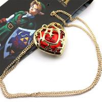 mavi kristal kalp kolye altın toptan satış-Altın Zincir Kristal Kalp Bildirimi Kolye Zelda Kalp Kristal Kolye Kolye Anahtarlıklar Anahtarlıklar Kırmızı Mavi Aşk Şekli Kolye DHL Ücretsiz