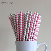 Atacado-25x Hot Pink Chevron Paper Drinking Straws Prata Holiday Party Paper Pães Casamento Baby Shower Birthday Party Supplies