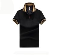 polo noir coupe slim achat en gros de-Polo Pour Homme Marque Plus La Taille M-5XL Coton Polo Shirt Pour Homme Slim Fit Marque Vêtements Polo Noir Solide