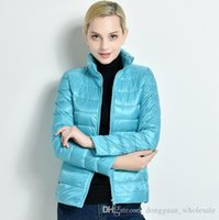 Wholesale Thin Wool Coat - New Winter 2017 Slim Thin Female Stand Collar Duck Down Jacket Women Ultra Light Coat Solid Color Plus Size Parkas ZA242