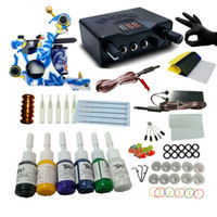 Wholesale Hot Sale Tattoo Machine Set Coils Guns Colors Inks Mini Professional Power Supplies Beginner Tattoo Kits Permanent Makeup Tattoo Kit Cheap