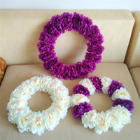 Wholesale Purple Door Wreath - artificial flower wreath,front door,candlestick Wreath white fuchsia penoy wreaths,16 inches mounted Wreaths ,wedding decoration