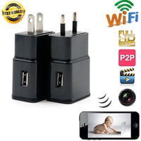 Wholesale wifi spy camera motion detection - 16GB Wireless 1080P WiFi P2P M2 wall Charger Hidden Camera Motion detection Adaptor WIFI SPY CAM Socket DVR Recorder Home Security monitor