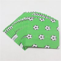 Wholesale Wholesale Printed Paper Napkins - Wholesale- 33*33cm soccer football print napkin 20 pcs lot green print paper napkin for happy birthday or soccer theme party