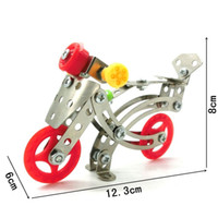 Wholesale wheel blocks - DIY Finger Toy Bricks Metal Stainless Steel 3D Assembly Toys Simulation Two Wheeled Motorcycle Building Blocks Popular LX002 B