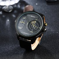 Mode Double mouvement Double Time Zone Mens Montres Quartz-Montre Oulm En Cuir Sport Quartz Montre-Bracelet Horloge relogio masculino