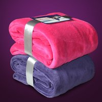 Wholesale Coral Plush - Wholesale Warm Flannel Fleece Blankets Adult Soft Solid Plaid Bedspread Plush Winter Summer Throw Blanket on for The Bed Sofa Manta MFL03
