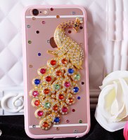 Wholesale Cell Phone Peacock - For iphone 7 Rhinestone Diamond Peacock Crystal Case Fashion BlingTransparent Cell Phone Protective Cover shell phone for iphone 6 plus 5S