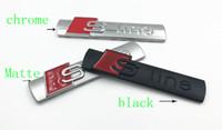 badges en ligne noir achat en gros de-100pcs / lot 3D Noir Chrome Métal Métal S line sline Fender Emblem Badge Autocollant Sline car-styling DÉCORATION