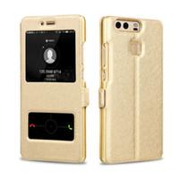 caja del teléfono g9 al por mayor-Caso para Huawei G7 C199 G8 D199 G9 Plus de lujo delgado elegante ventana de la visión del tirón de cuero de la PU cubierta de la rejilla del teléfono bolsas