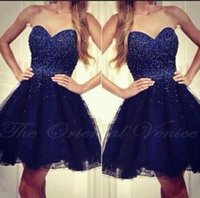 Wholesale Vestidos Renda Sexy - Navy Blue Short Cocktail Dresses Sparkly Beading Crystal Sweetheart Tulle Mini Party Dress 2017 Vestidos de renda
