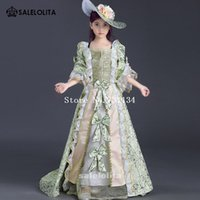 Wholesale Medieval Dresses For Girls - 2017 best seller Children green printed lace Victorian Renaissance Dresses Medieval Reenactment Theater Clothing for girl